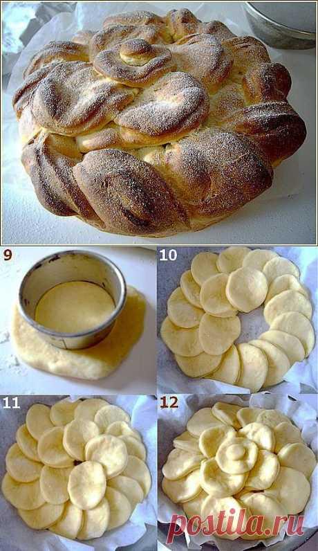 Ингредиенты   -250 гр муки  - 2 столовые ложки сахара  -110 гр молока  -50 гр сливочного масла  -2 Яичные желтки  -5 г дрожжей (1/2 ст л)  -1/2 чайной ложки соли - Сахарная пудра украшения ПРИГОТОВЛЕНИЕ Высыпать муку в миску, добавить соль и сахар, смешать, добавить  дрожжи . В отдельной миске смешать молоко с желтками, влить  эту смесь в муку и перемешать  Добавить рубленное масло небольшими кусочками. На этом этапе можно добавить распаренный мак, изюм или кокосовую стружку ....