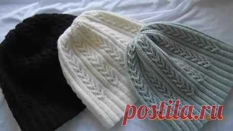 El gorro con las trenzas por el gancho la Espiguilla Crochet hat