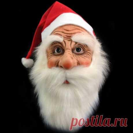 Санта Клаус подарок карнавал Хэллоуин матовая латексная маска парик борода Маскарад Костюм рождественвечерние купить на AliExpress
