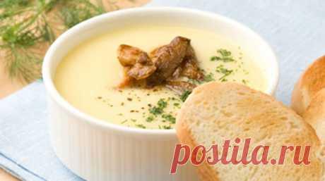 Грибной суп-пюре с плавленым сырком -