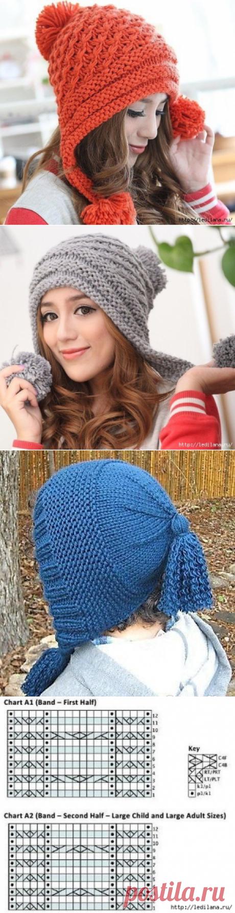 Интересная шапка спицами