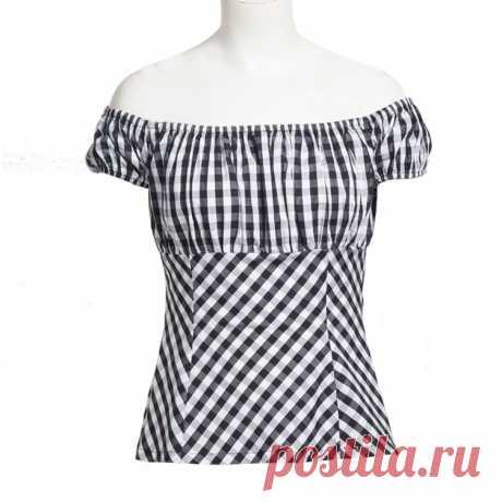 Красные, белые, черные 50s Ретро Винтажные рубашки женская одежда летний топ в клетку с принтом на булавке Топы Рубашки Хепберн дизайн вечерние|Футболки| | АлиЭкспресс