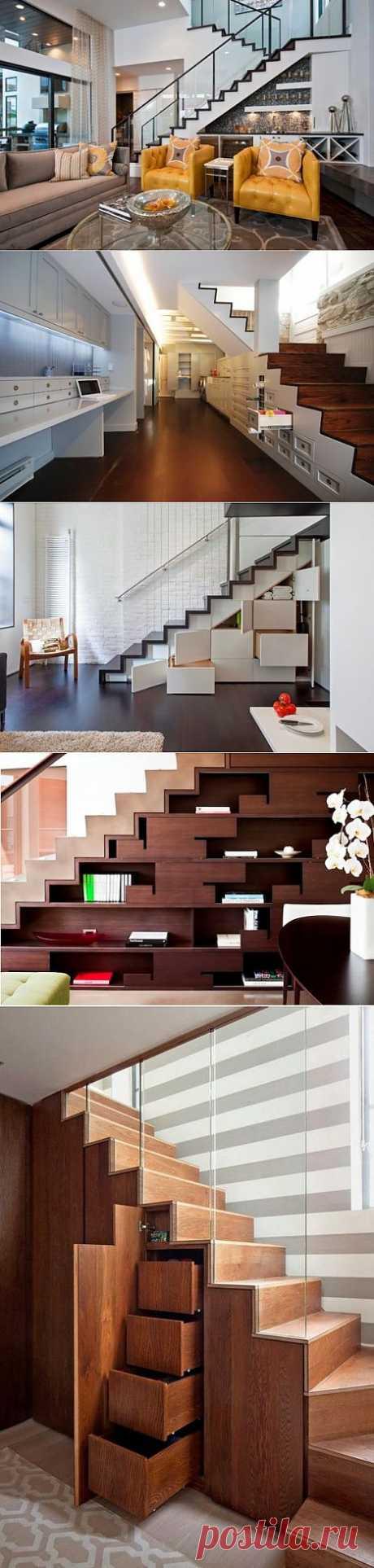 10 современных идей для хранения под лестницей