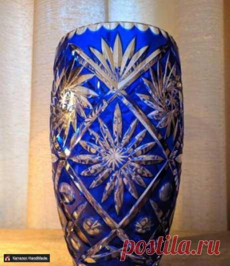 Ваза для цветов Ручная работа Хрусталь синий купить в Беларуси HandMade, цены в интернет магазинах