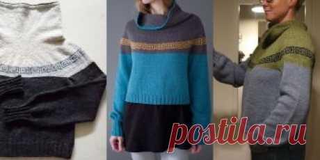 Женский свитер Squarish Модный укороченный женский свитер с классическим жаккардовым греческим узором «Меандр» на кокетке и удлиненным рукавом.
