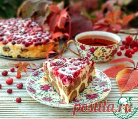 """Творожный пирог с печеньем """"Клюквенный"""" – кулинарный рецепт"""