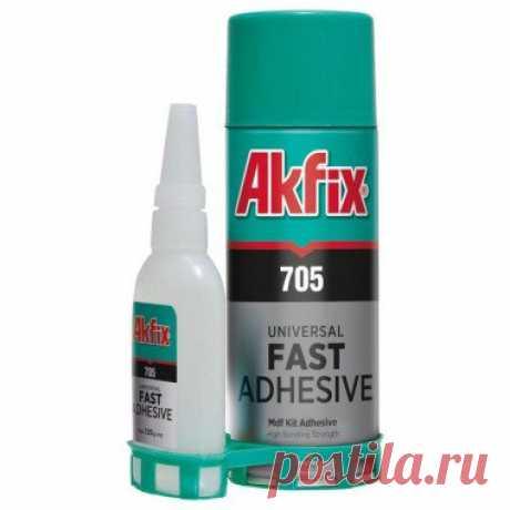 Клей акфикс Akfix 705 .100/400гр активатор Двухкомпонентный клей  Akfix 705 100/400гр активатор.  Идеален для использования на вертикальных поверхностях: не капает и не стекает. Особенно подходит для склеивания различных материалов пористых по структуре или с шероховатой поверхностью. В основном применяется для монтажа и ремонта деревянных деталей. Подходит для МДФ, дерева, резины,металла,стекла, большинства пластиков, кожи и т.д. Время высыхания до 10 секунд.