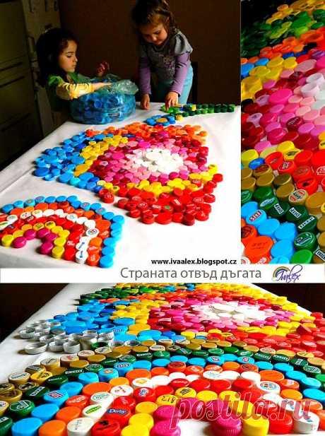 Цветные игры из крышек