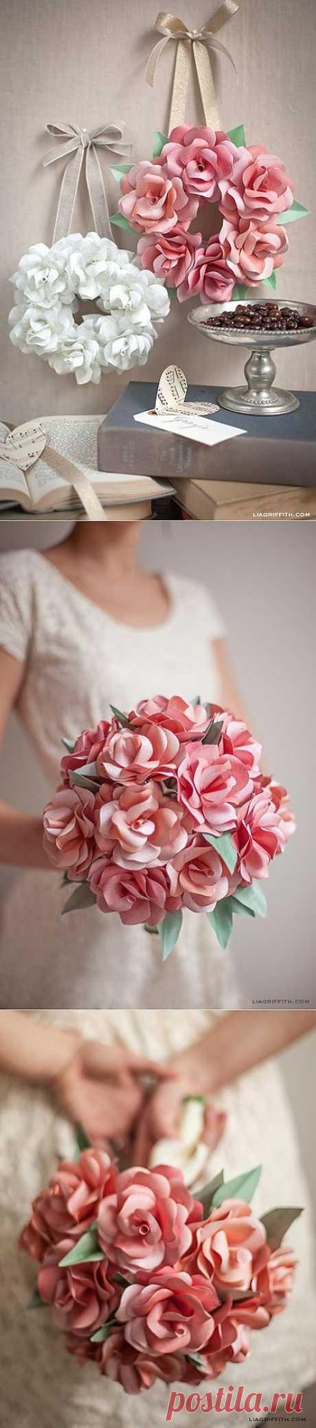 Венки и свадебные букеты из бумажных розочек. Шаблоны