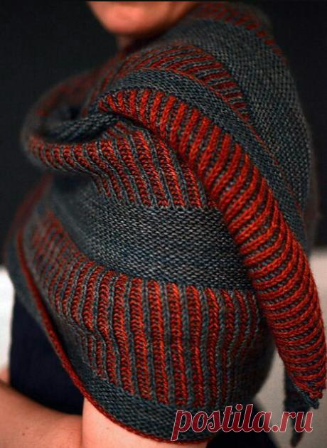Яркое вязание - на такую вещь точно обратят внимание! Видео-МК + схема вязания красивого узора в технике Бриошь.   Первый вязальный!   Яндекс Дзен