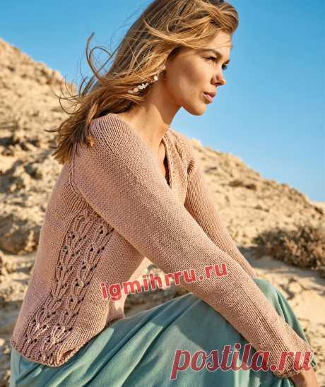 Пуловер с боковыми узорчатыми вставками. Вязание спицами со схемами и описанием
