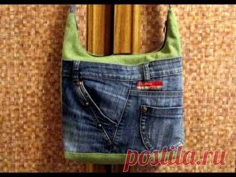 Шьём сумку из брезента и джинсы  МК от мадам Плюшкной