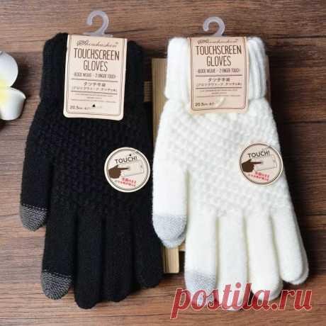 Женские кашемировые шерстяные вязаные перчатки, зимние теплые толстые перчатки с сенсорным экраном, однотонные варежки на мобильный телефон, планшет | Мужские перчатки