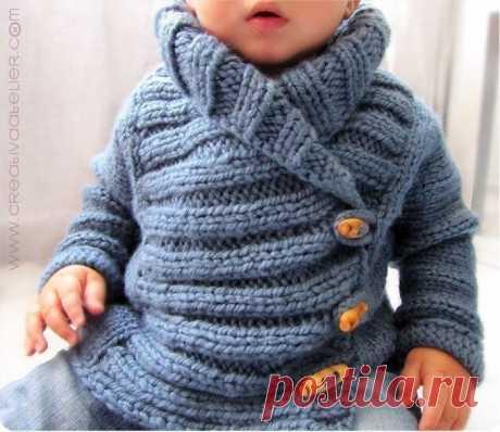 Вяжем теплую красивую курточку для нашего малыша