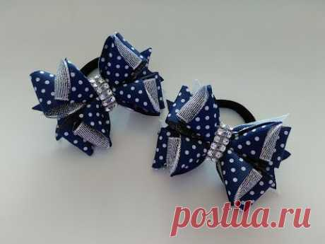 Бантики из лент 2,5 см  МК Канзаши /  Ribbon bows 2.5 cm MK Kanzashi