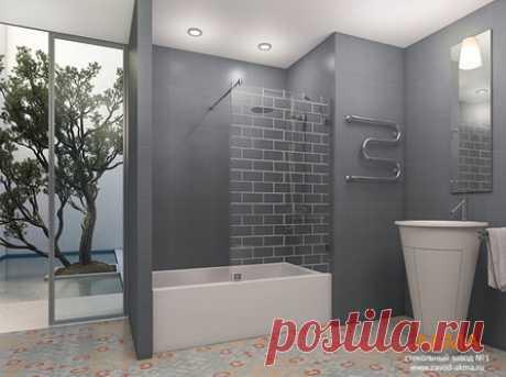 Вариант стационарной стеклянной шторки для ванной. Шторка изготовлена из закаленного стекла 8 мм толщины и имеет рисунок ввиде кирпичей. Производитель - крупнейший стекольный завод Акма