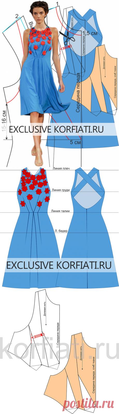 Выкройка платья с аппликацией от Анастасии Корфиати