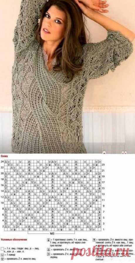 Шикарный пуловер с косой
