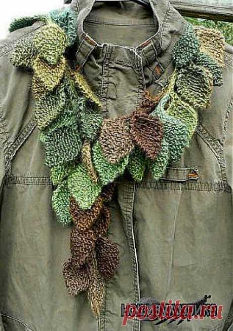 листочки, спицами, шарф,