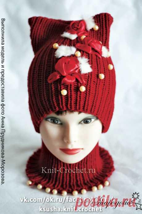 Комплект «Красная шапочка» спицами.