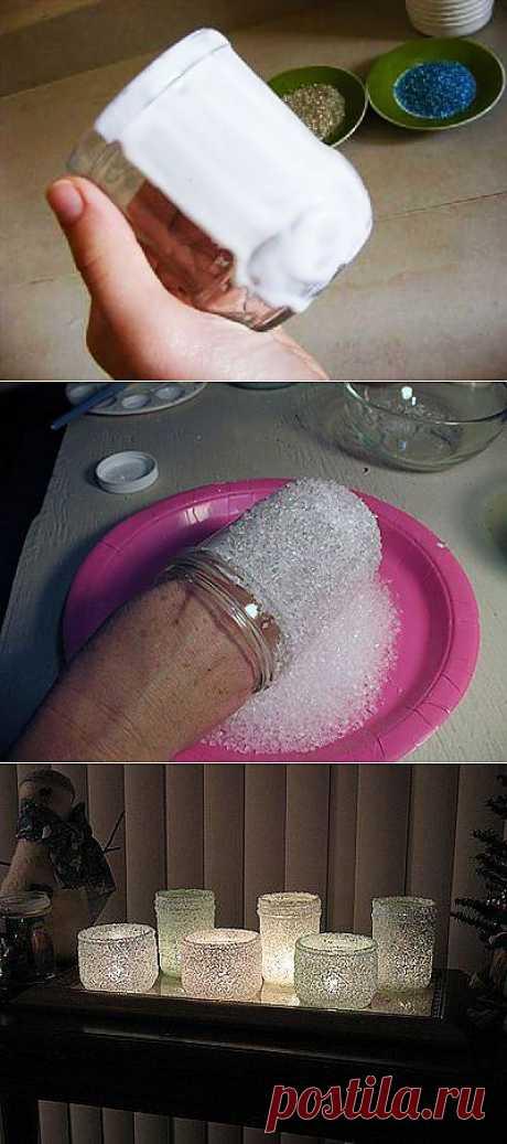подсвечники из банок и морской соли