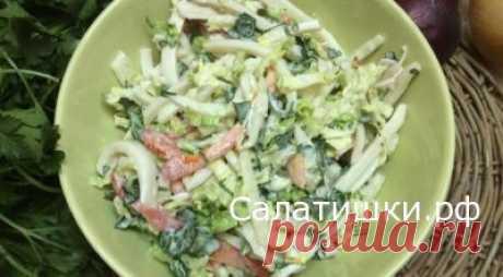 РЕЦЕПТ ПОСТНОГО САЛАТА С КАЛЬМАРМИ » Рецепты вкусных салатов