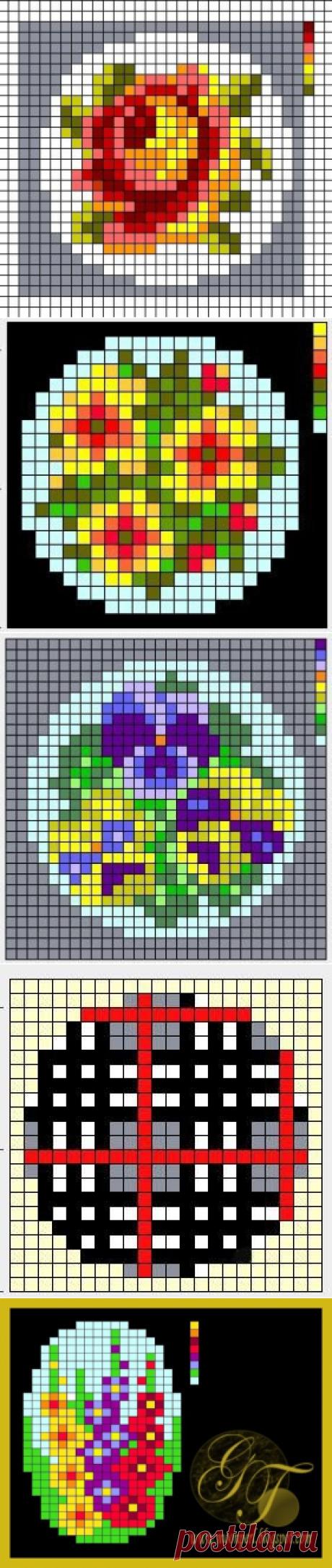 Схемы для вышивки брошей с цветами — Сделай сам, идеи для творчества - DIY Ideas
