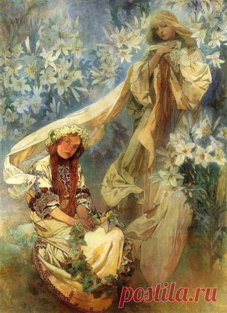 Мадонна лилий, Альфонс Мария Муха (1860-1939) — чешский график, живописец, виртуоз декоративно-прикладного искусства