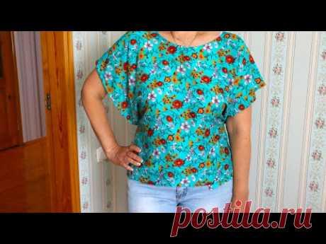 Сшила летнюю блузку всего за 225 рублей по выкройке 70-х годов. Этот фасон опять в моде