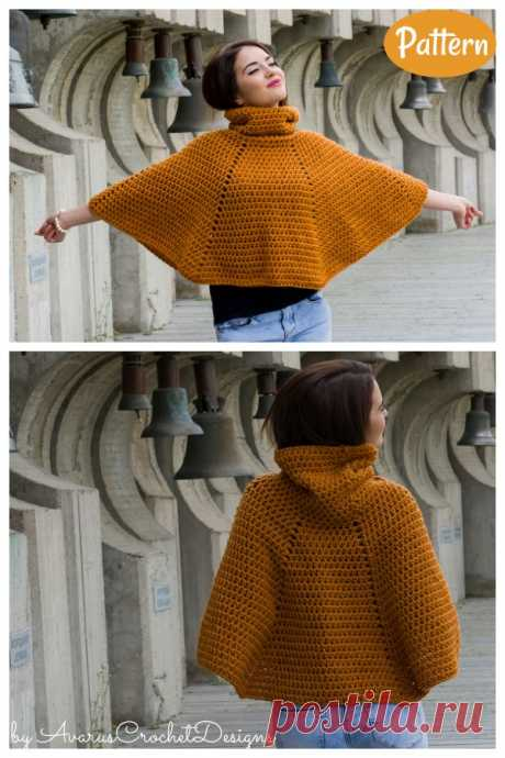 5 Easy Cowl Neck Poncho Crochet Patterns.Идеи.