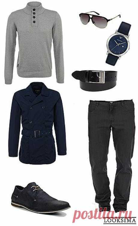 Образ делового мужчины это не только строгий костюм и галстук. Все больше мужчин выбирают для работы удобный и стильный вариант smart casual. Прямые однотонные джинсы, джемпер, плащ. Строгие аксессуары подчеркнут деловую основу образа.