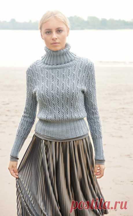 Женский свитер спицами с высоким воротником гольф | Моё хобби.Вязание для женщин. | Яндекс Дзен