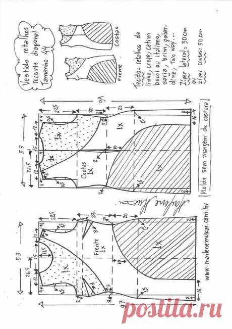 Vestido tubinho recorte diagonal com retalhos – Marlene Mukai