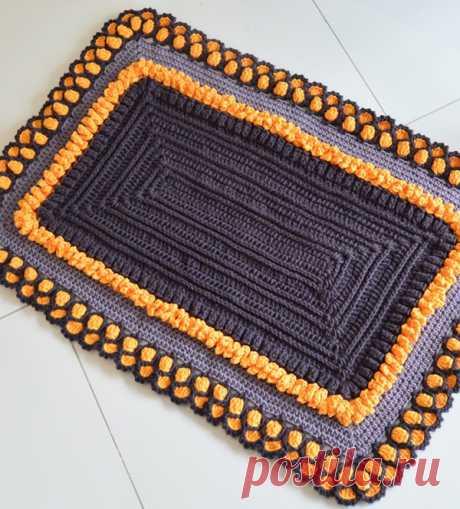 """Прямоугольный коврик рельефными столбиками Схема вязания прямоугольного коврика рельефными столбиками, обвязка - """"попкорн"""""""