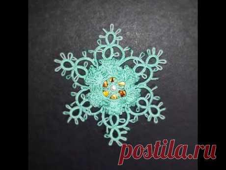 Фриволите. Объемная новогодняя снежинка. Процесс плетения. - YouTube