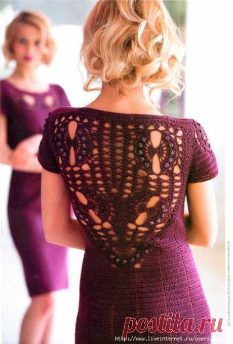 """Пурпурное платье крючком!   Описание из """"Журнала Мод""""."""