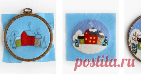 Создаем картину-миниатюру «А снег идет» Совсем скоро уже наступит Новый год! Пора готовить подарки :) Такая зимняя картинка-миниатюра станет приятным сюрпризом для близких. Но это может быть не только картина. Этим рисунком можно украсить подушку, косметичку или сумочку. Материалы: - немного шерсти разных цветов; - игла для валяния; - щетка для валяния или толстая губка; - пяльцы-рамка диаметром 10 см; - фетр для основы; - мулине…