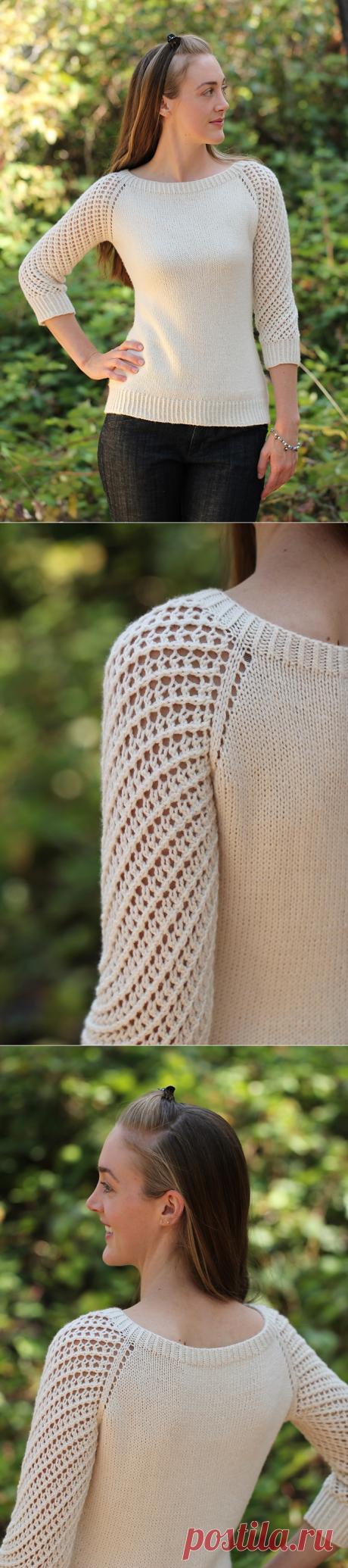 Вязаный пуловер Deodara с рукавом реглан в ажурную сетку от дизайнера Maria Olson.