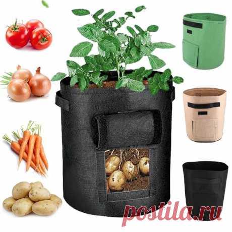 10/7 галлонов картофеля для выращивания Сумка горшок с двойной дверью нетканый экологически чистый внутренний На открытом воздухе Растение