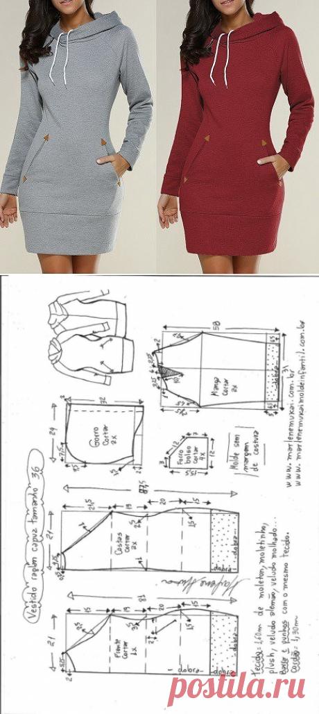 Выкройки трикотажного платье с длинным рукавом