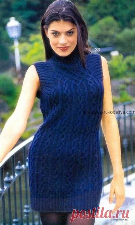 Платье аранами спицами. Короткое женское платье синего цвета спицами | Шкатулка рукоделия. Сайт для рукодельниц.