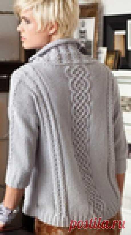 Вязание спицами - Свитер спицами с кельтской косой по центру (в бохо-стиле)