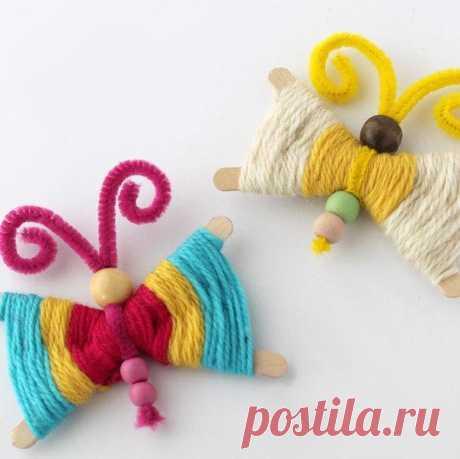 Идея для детского творчества: бабочки из палочек и ниток / Вязание как искусство!