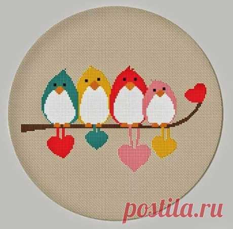 Птички. Простая схема для детской вышивки.