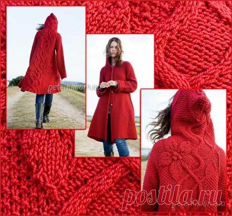 Пальто с объемными цветами на спине. Описание вязания, схемы, выкройка Шикарное вязаное пальто с капюшоном с рельефным рисунком на спине в виде стебельков с цветами. Перед выполнен жемчужной вязкой. Обхват груди: 86 (97.105. 113, 120) см Размер: XS (S, М, L, XL) Вам потребуется: 12(12.13.13. 14) мотков пряжи Briggs & Little Atlantic (100% шерсть. 124