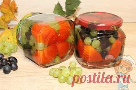 Томаты с виноградом на зиму — рецепт эффектной консервации Томаты с виноградом на зиму. Эта удивительная закуска, хорошо сочетается с сыром тофу. Эффектная и вкусная консервация из зеленого винограда и томатов