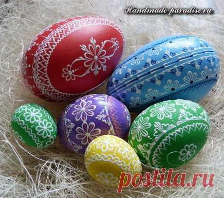 Роспись пасхальных яиц воском (описание процесса, идеи росписи)