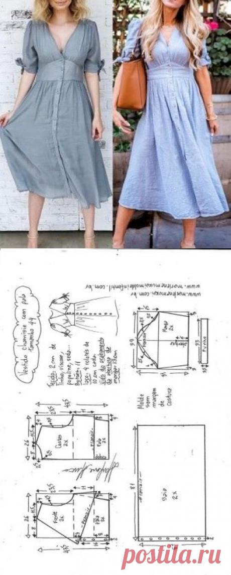 Vestido chamisie com pala | DIY - molde, corte e costura - Marlene Mukai