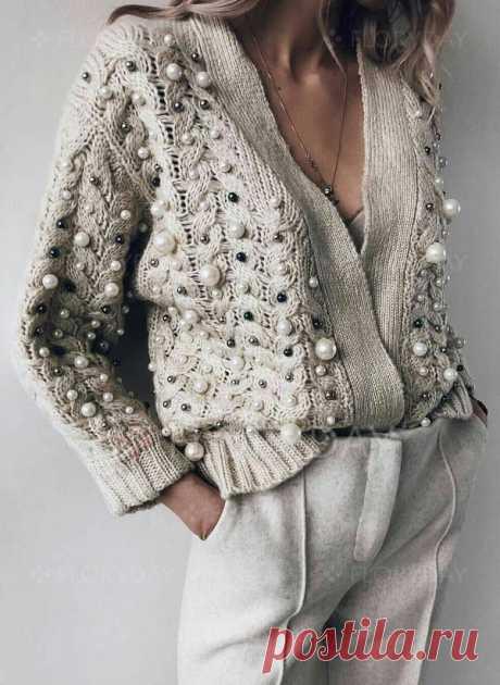 Свитера Пальто V-образный с длинными рукавами с бусами - Floryday
