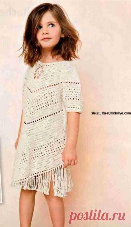 Платье для девочки с бахрамой Платье для девочки с бахрамой крючком. Летнее платье крючком для девочки 6-7 лет